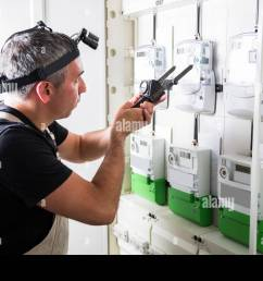 electrician testing equipment in fuse switch box close up stock image [ 1300 x 956 Pixel ]