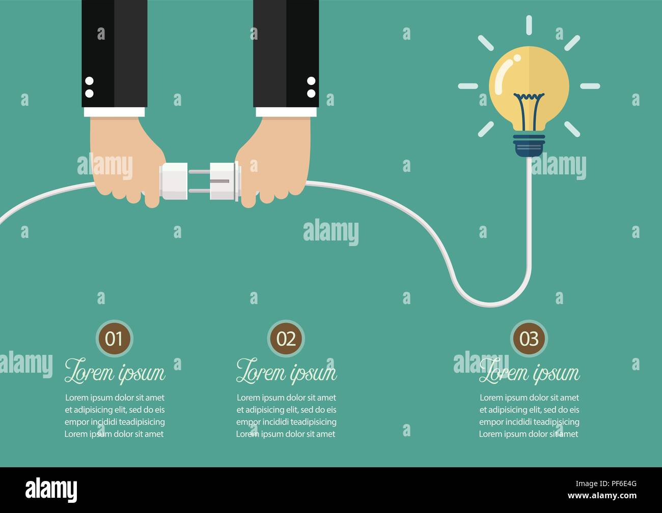 hight resolution of man holding in hand plug and socket to connect an idea vector illustration stock