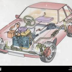 Cross Section Diagram Of Muffler 2002 Honda Accord Ex Stereo Wiring Car Engine Stock Photos And