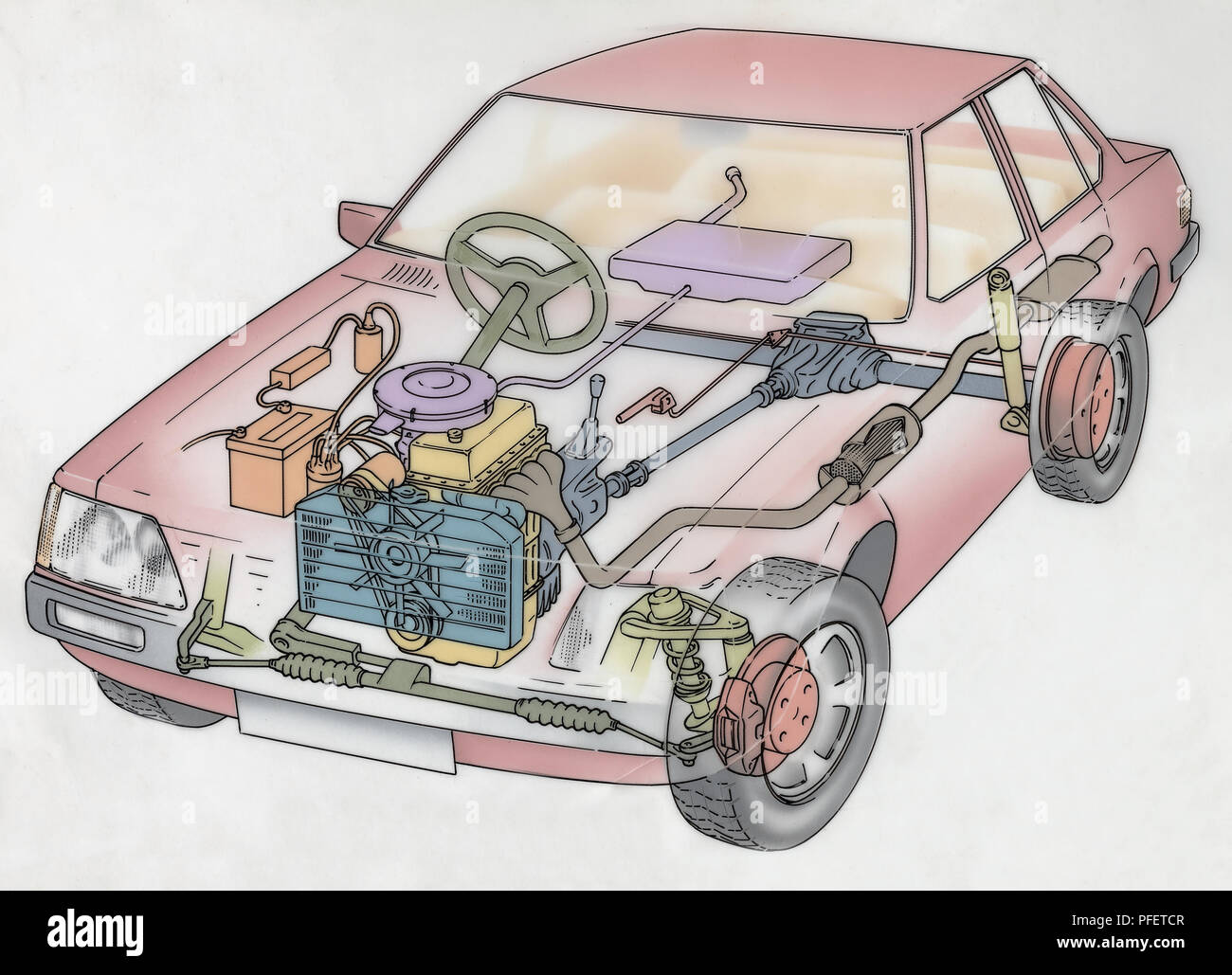 hight resolution of artwork cross section diagram of a car showing the engine radiator artwork cross section diagram