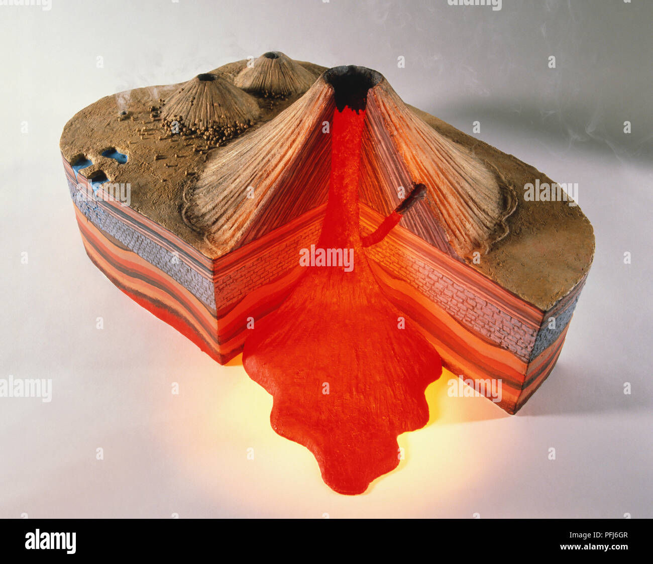 3d Model Of Erupting Volcano With Cross Section