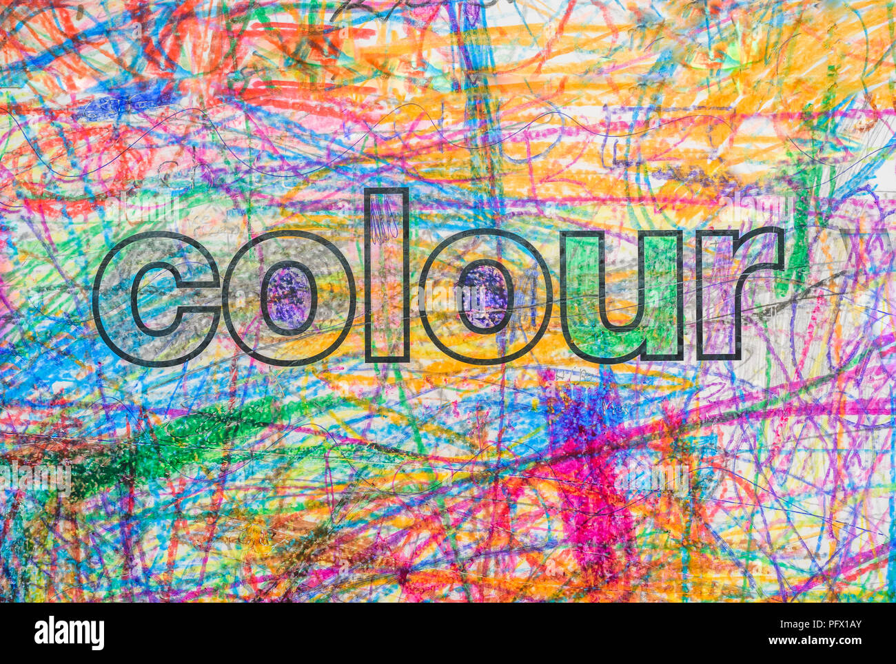 The Word Colour With Multicoloured Crayon Background