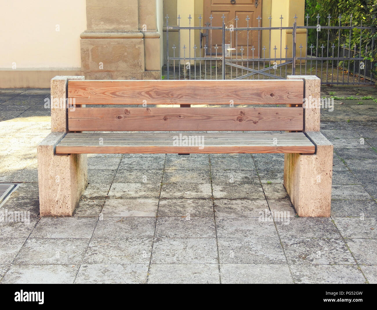 wooden bench in front