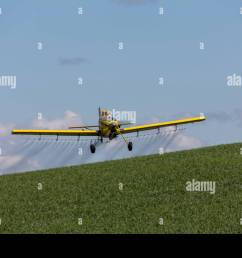 crop duster plane flying and spraying over crops in the palouse region of washington state  [ 1300 x 956 Pixel ]