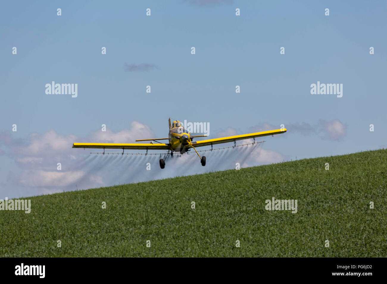 hight resolution of crop duster plane flying and spraying over crops in the palouse region of washington state