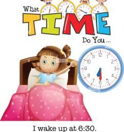 a girl wake up at 6 30 illustration [ 1131 x 1390 Pixel ]