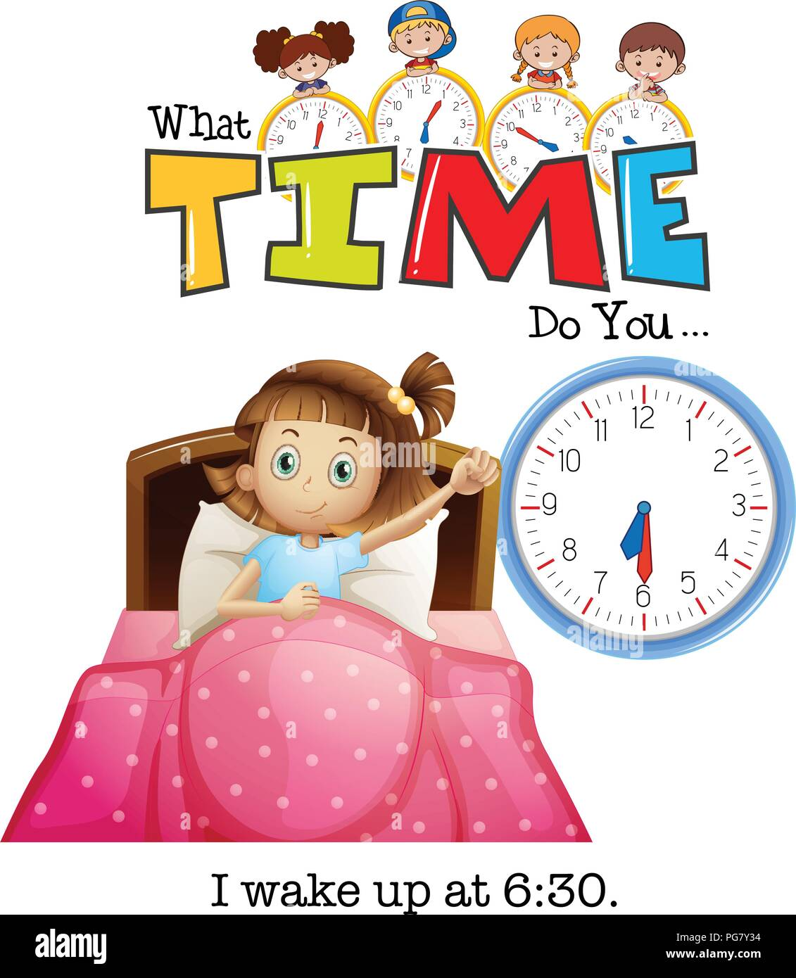 hight resolution of a girl wake up at 6 30 illustration