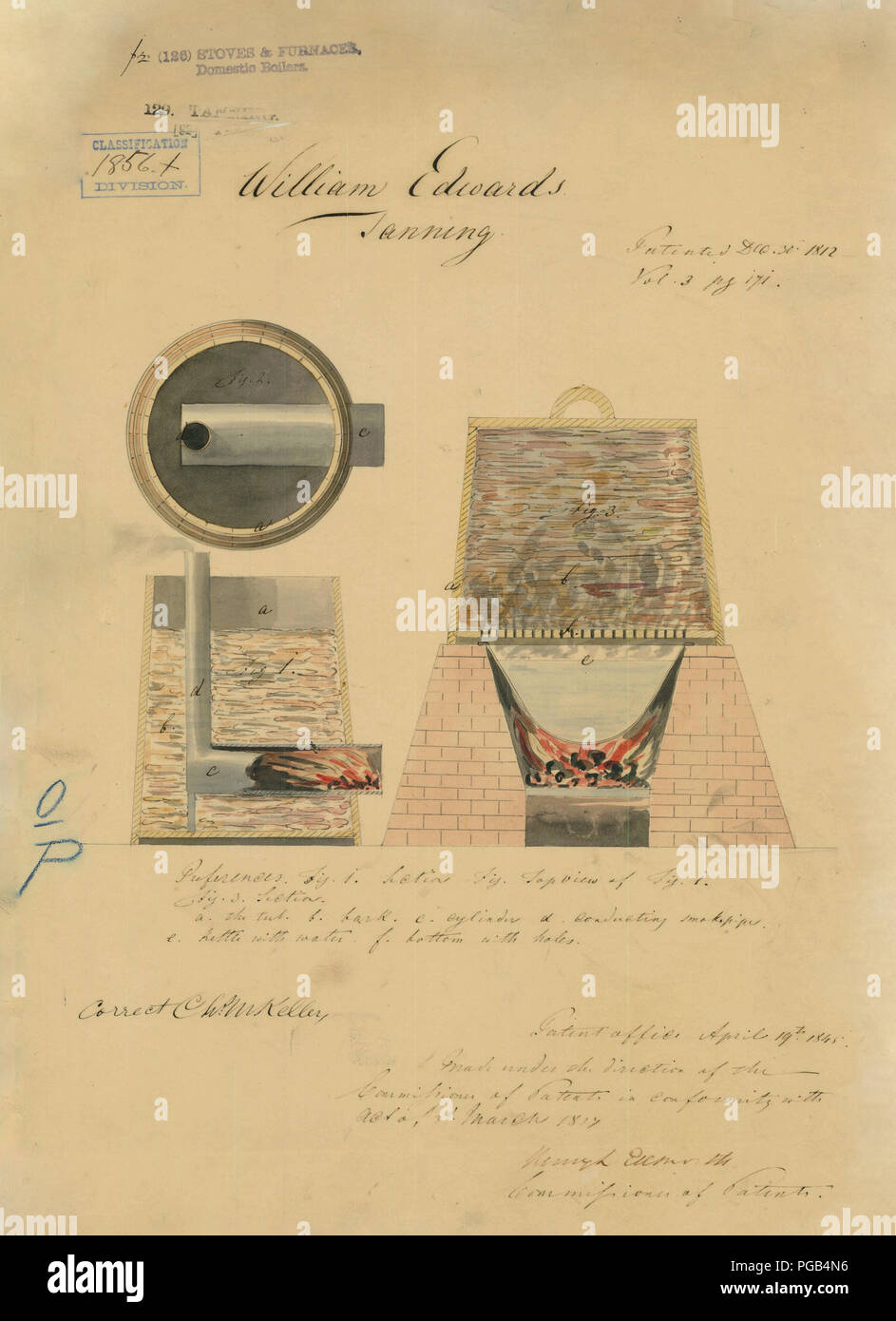 medium resolution of patent drawing for william edward s tanning equipment 1812 stock image