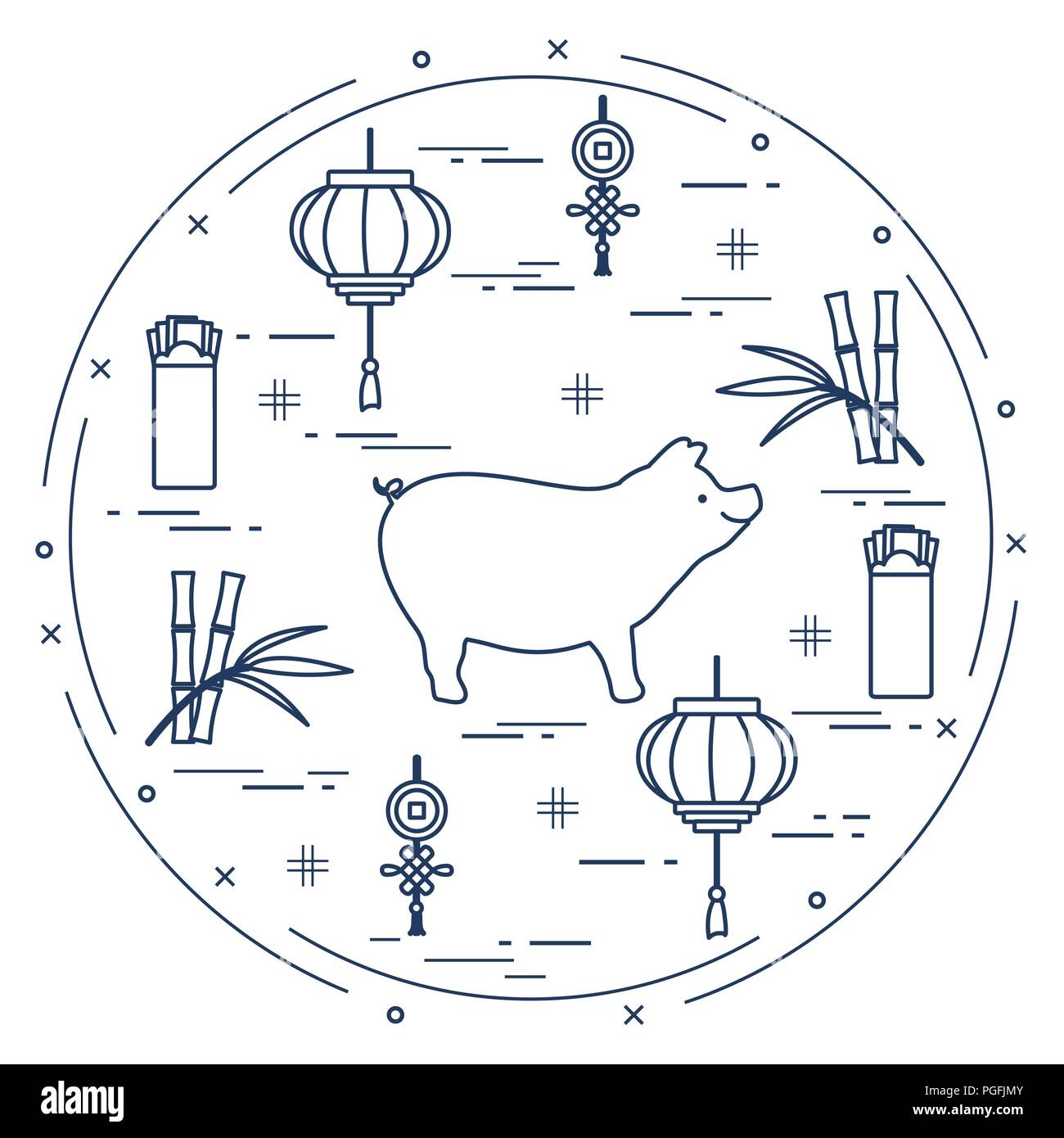Happy New Year Card Chinese New Year Symbols Pig
