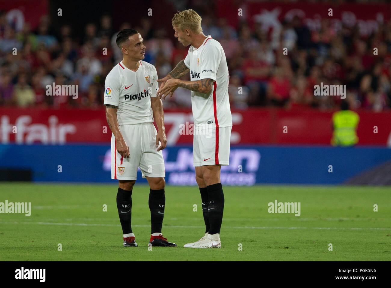 Roque Mesa Sevilla Spain 26th August 2018 Roque Mesa And Kjær