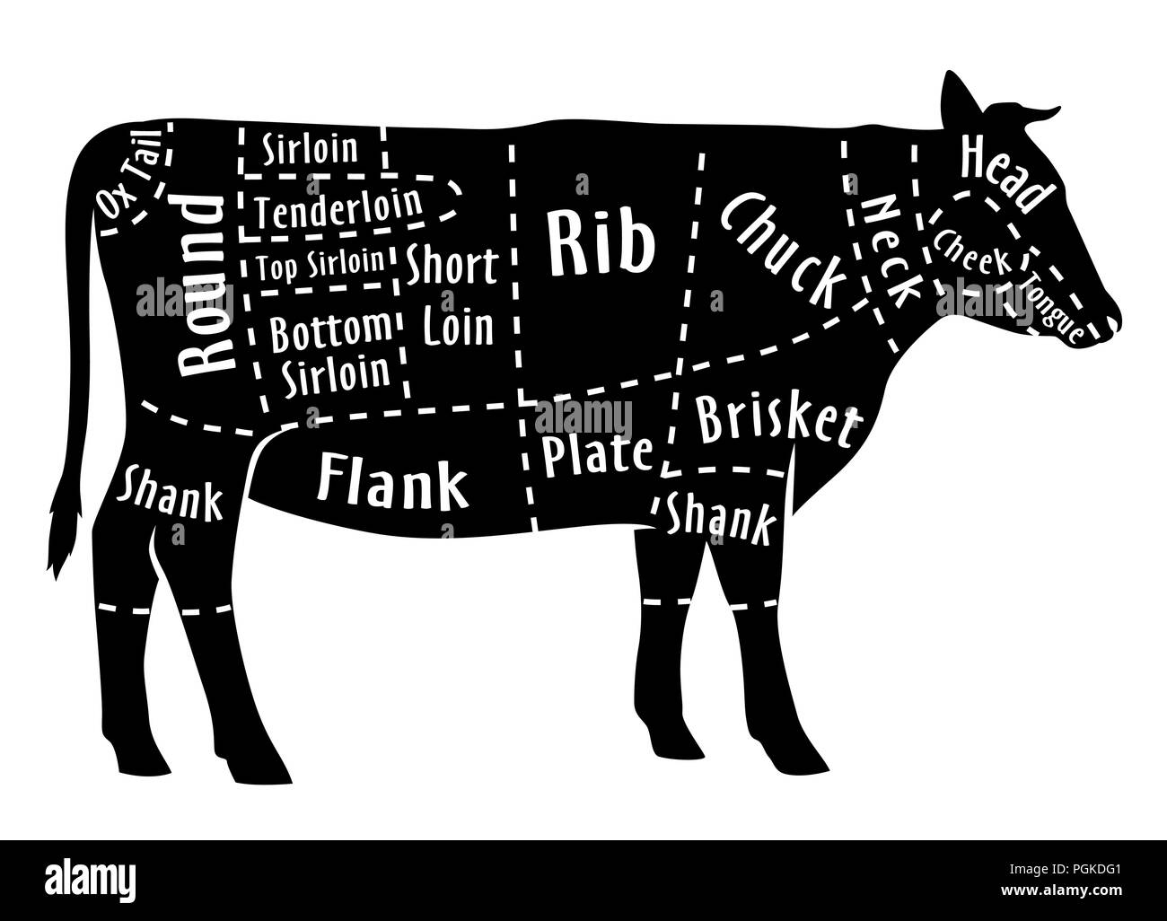 hight resolution of cut of beef diagram for butcher beef cut stock image