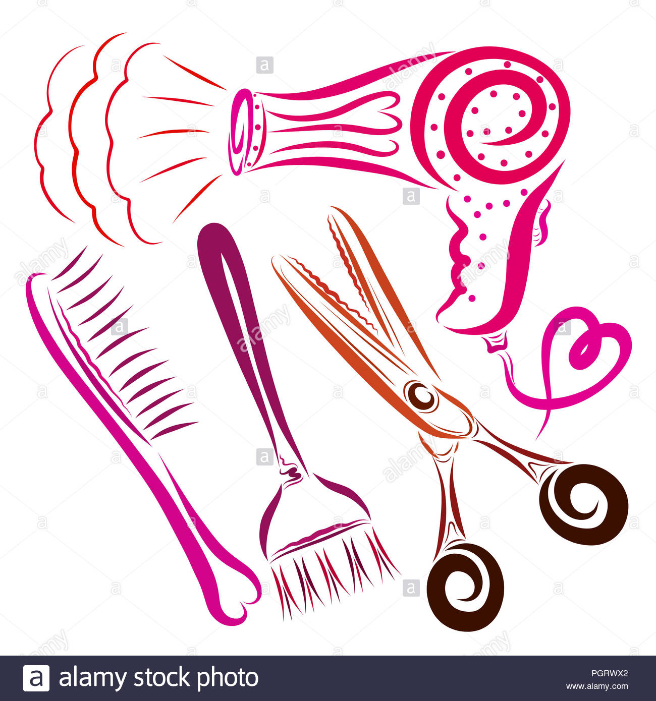 Hair Dryer With A Heart A Comb A Brush For Coloring Hair