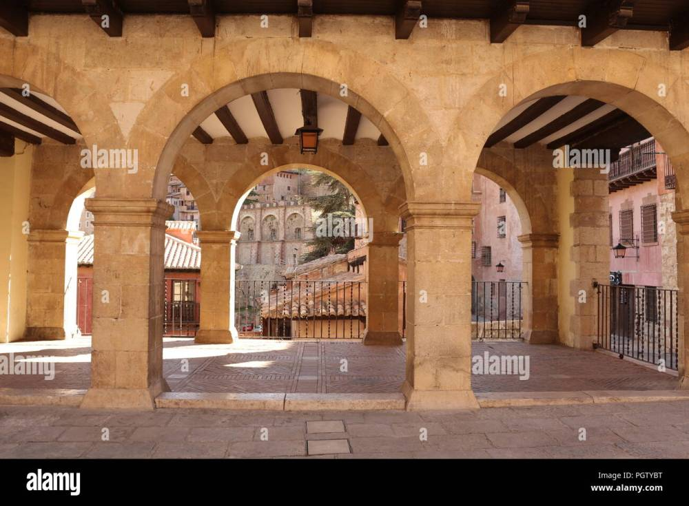 medium resolution of fragment of arches of the plaza mayor of a small mountain village albarrac n spain