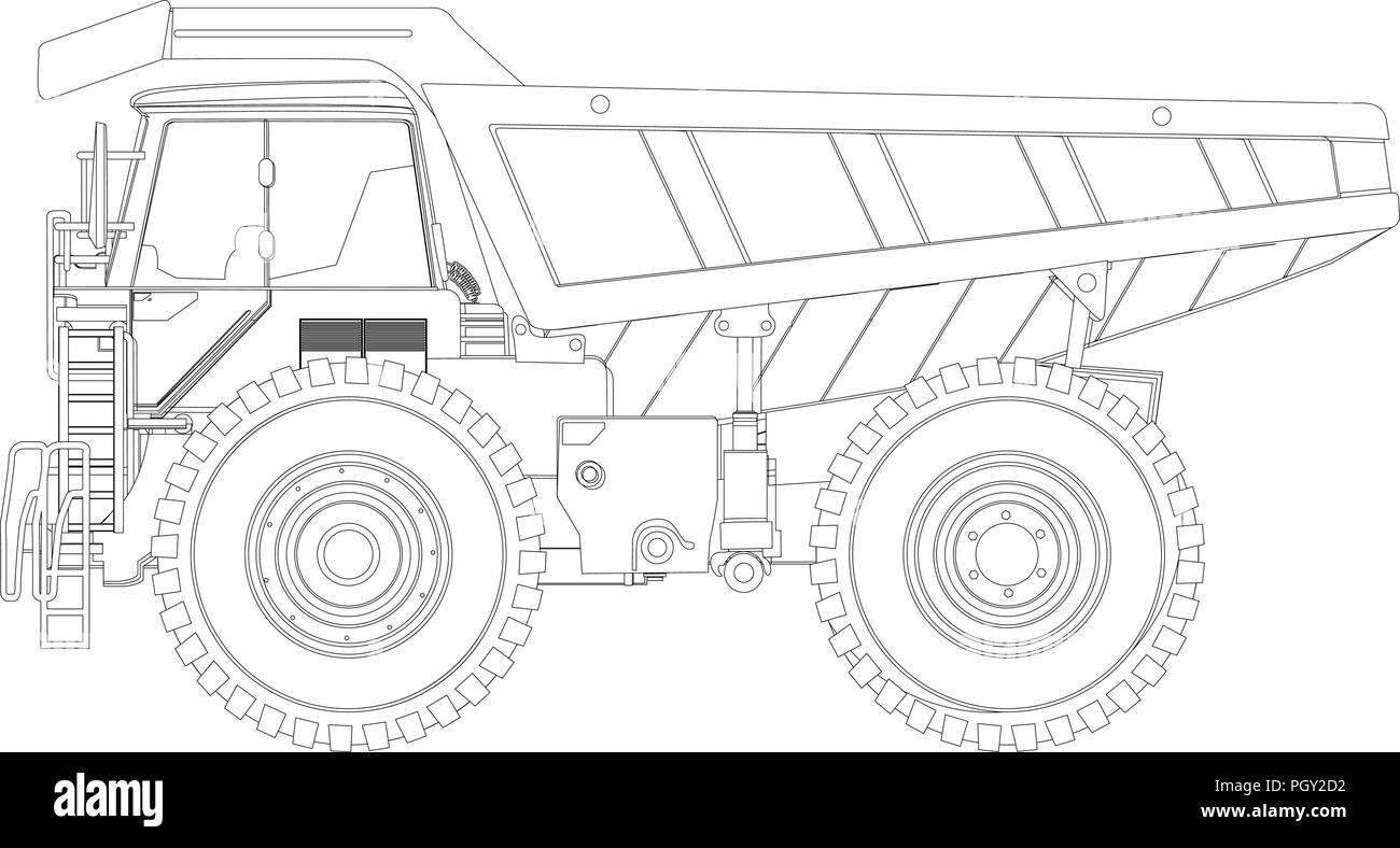 hight resolution of heavy duty dump truck line drawing stock vector