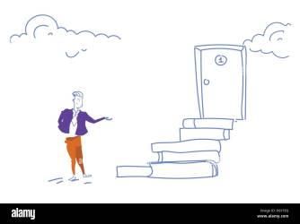 stairs climbing go ladder sketch cartoon career podium businessman opportunity concept door doodle horizontal growth success alamy teamwork victory vector