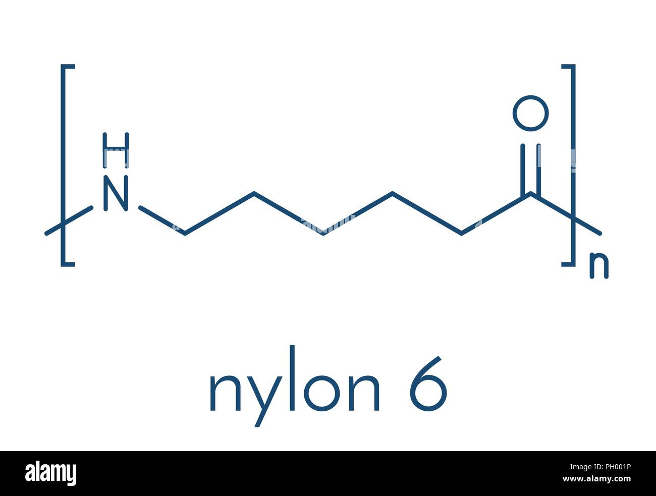 hight resolution of polycaprolactam nylon 6 polymer chemical structure polyamide frequently used for production of synthetic fibers skeletal formula