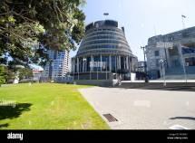 Beehive Parliament Building In Wellington Stock