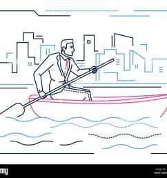 businessman rowing a boat line design style illustration [ 1300 x 1173 Pixel ]