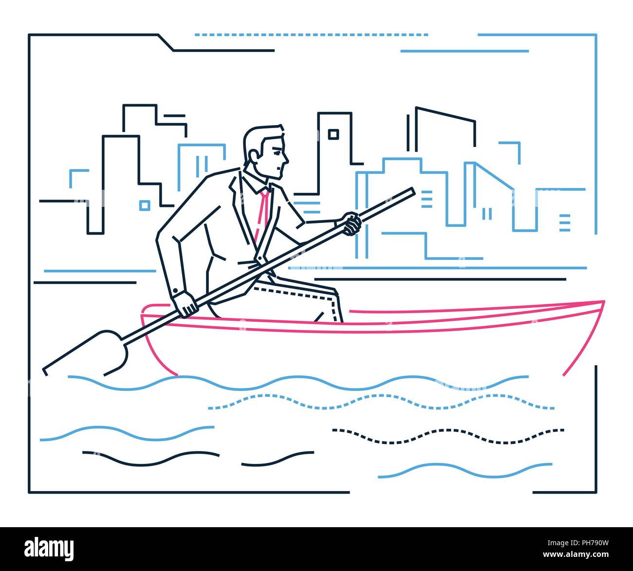 hight resolution of businessman rowing a boat line design style illustration