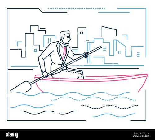 small resolution of businessman rowing a boat line design style illustration