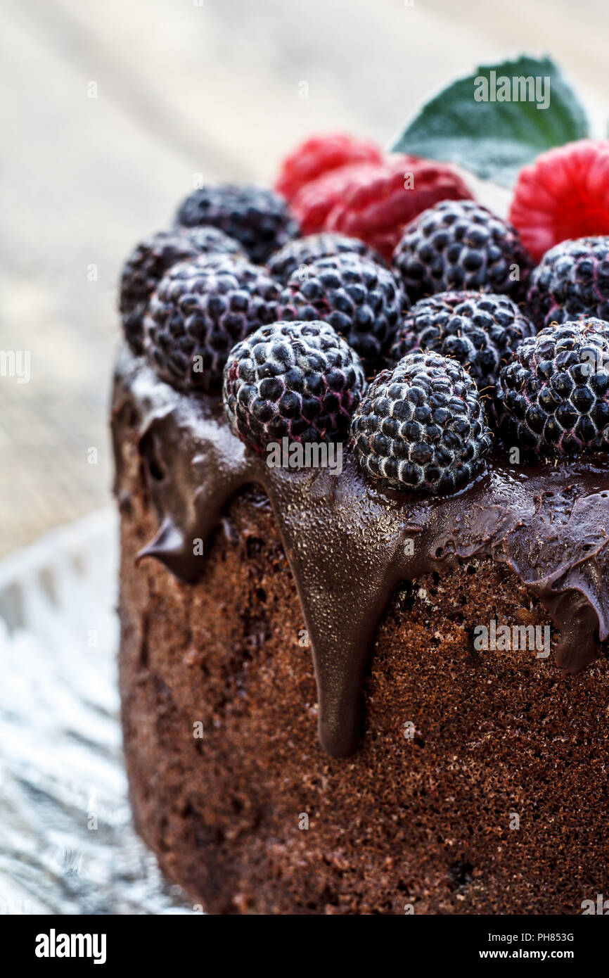 Close Up Homemade Chocolate Cake Decorated With Black And Red