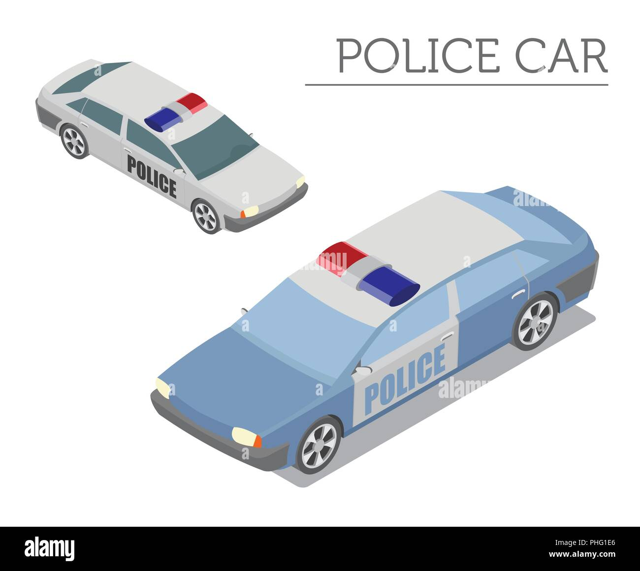 isometric 3d police car