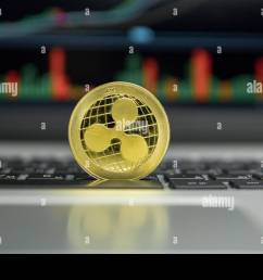 golden ripple coin on a black keyboard of silver laptop and diagram chart graph on a screen as a background virtual cryptocurrency concept  [ 1300 x 956 Pixel ]