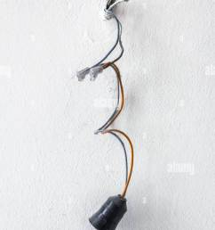 dangerous bad wiring leading to the bulb stock image [ 866 x 1390 Pixel ]