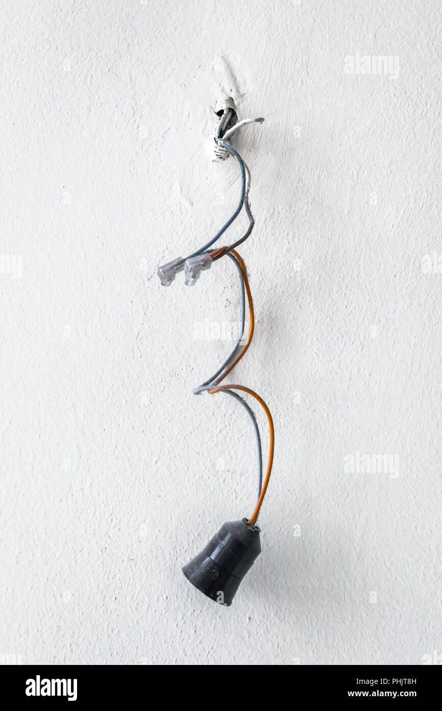 medium resolution of dangerous bad wiring leading to the bulb stock image