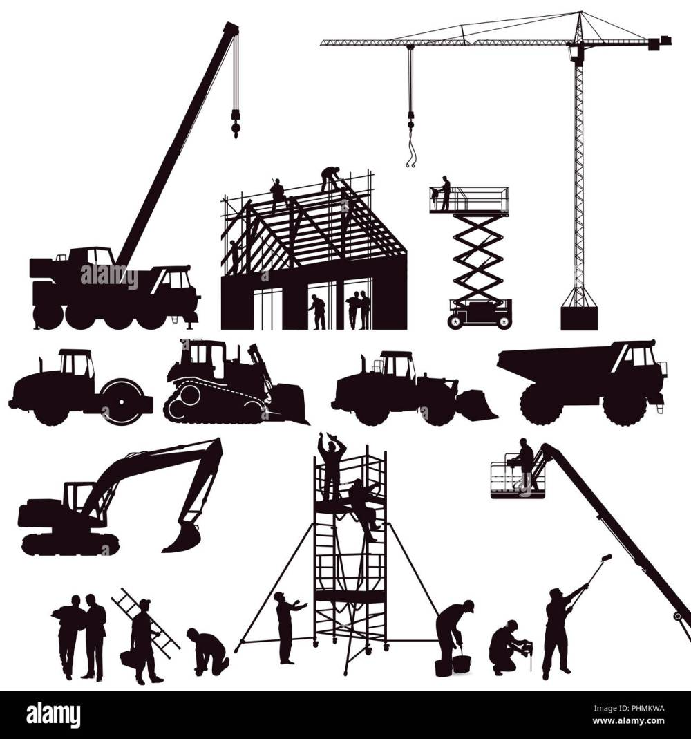 medium resolution of excavator and crane wheel loader on the construction site