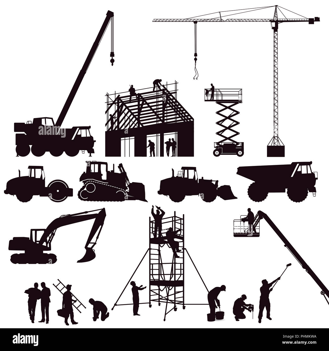 hight resolution of excavator and crane wheel loader on the construction site