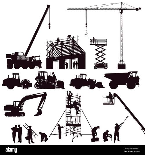 small resolution of excavator and crane wheel loader on the construction site