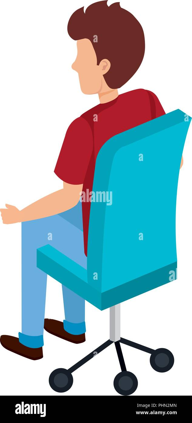 office chair illustration high seat beach chairs young man sitting in vector design stock
