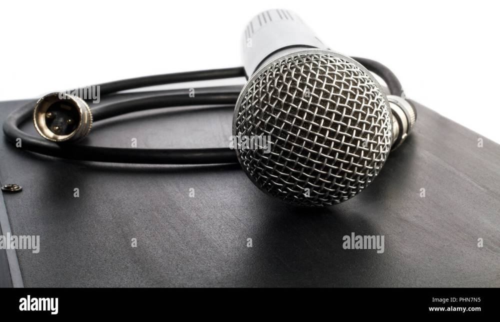 medium resolution of wireless microphone and cable with connector stock image