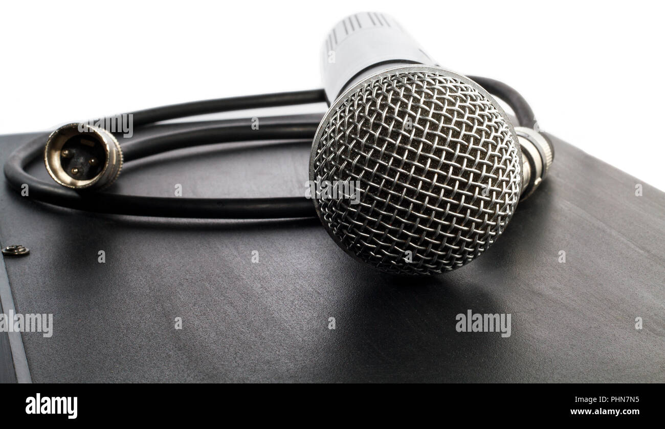 hight resolution of wireless microphone and cable with connector stock image