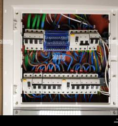 close up of white frame panel electrical switch board with colourful cables automatic circuit switchers breakers and fuses [ 1300 x 1062 Pixel ]