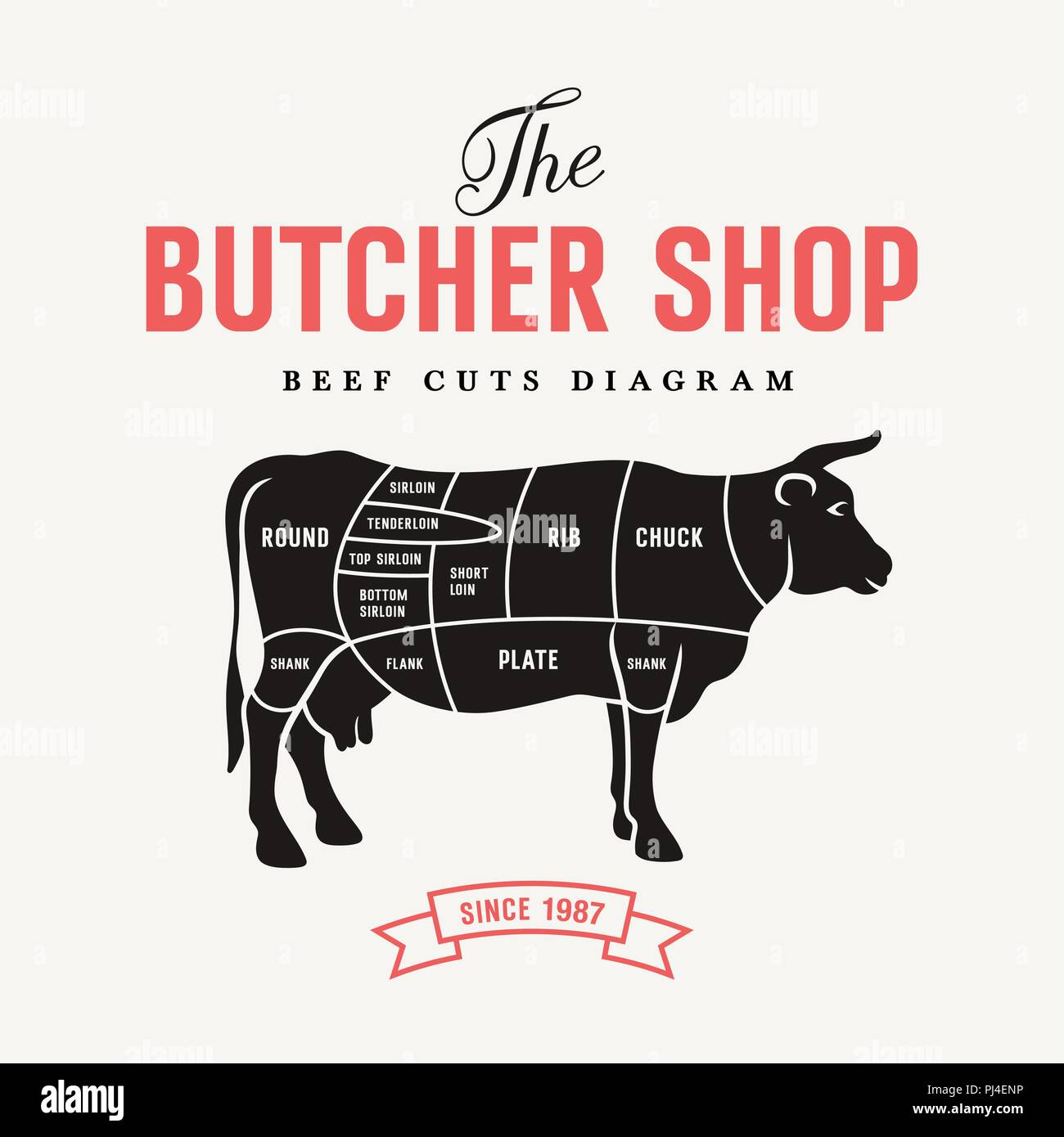hight resolution of beef cuts diagram vector illustration for butcher shop and farm market stock image