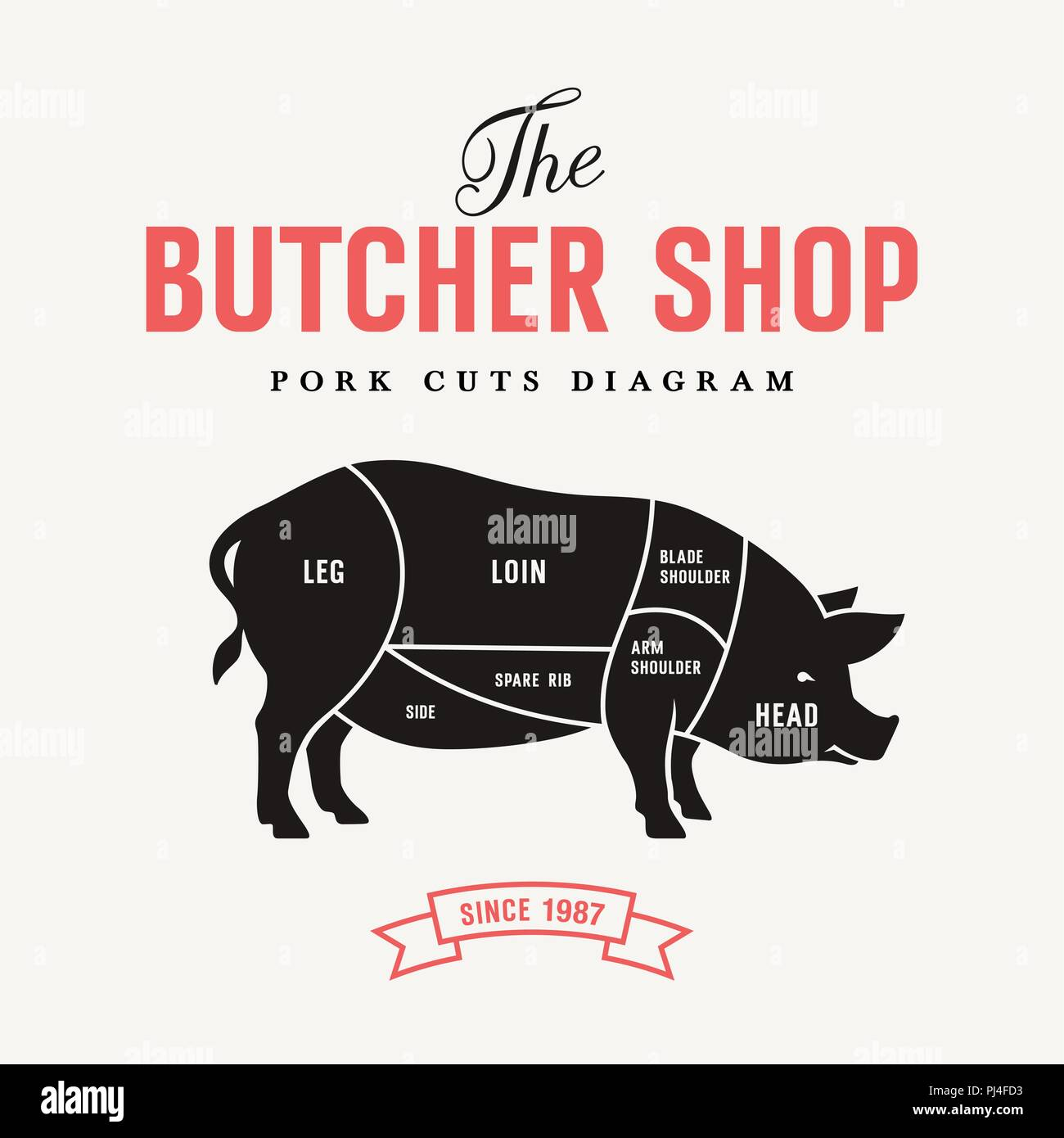 hight resolution of pork cuts diagram vector illustration for butcher shop and farm market