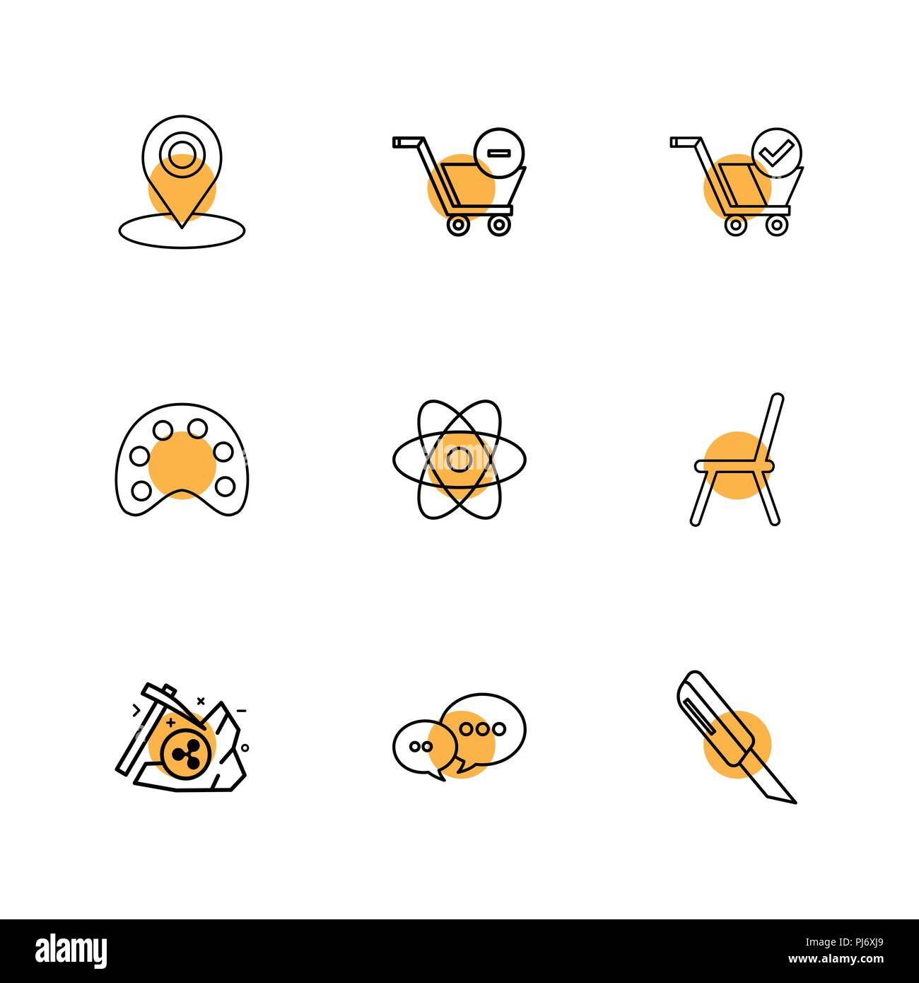 chair design icons light pink accent navigation cart paint nuclear axe chat cutter icon vector flat collection style creative