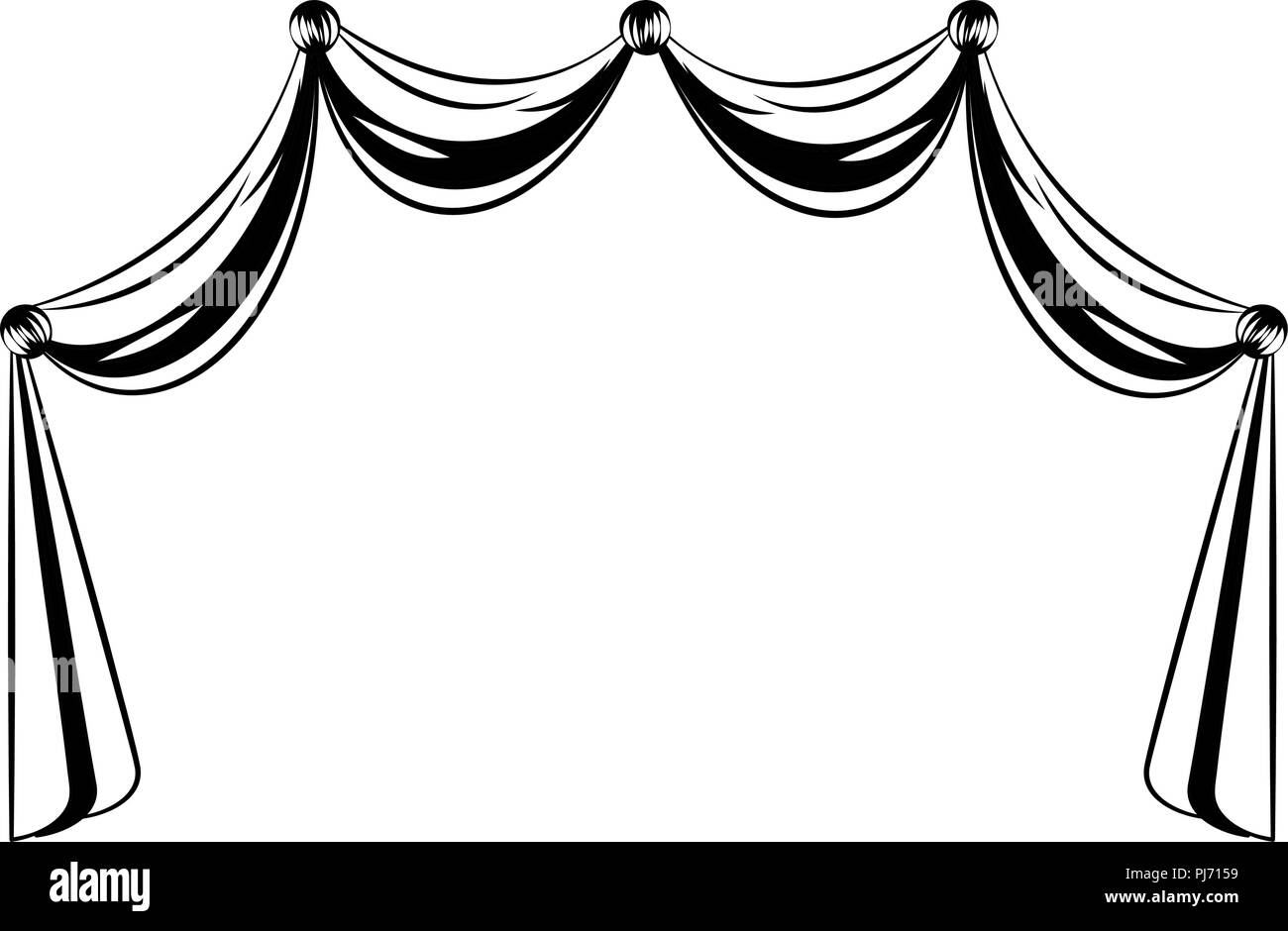 hight resolution of germany curtains isolated in black and white stock image