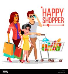 Shopping Woman Vector Happy Family Couple Grocery Cart Joyful Female Holding Paper Bags Groceries In Shop Supermarket Shopping Day Pleasure Of Purchase Business Isolated Cartoon Illustration Stock Vector Image & Art