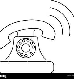 old telephone icon thin line design vector illustration  [ 1300 x 1259 Pixel ]