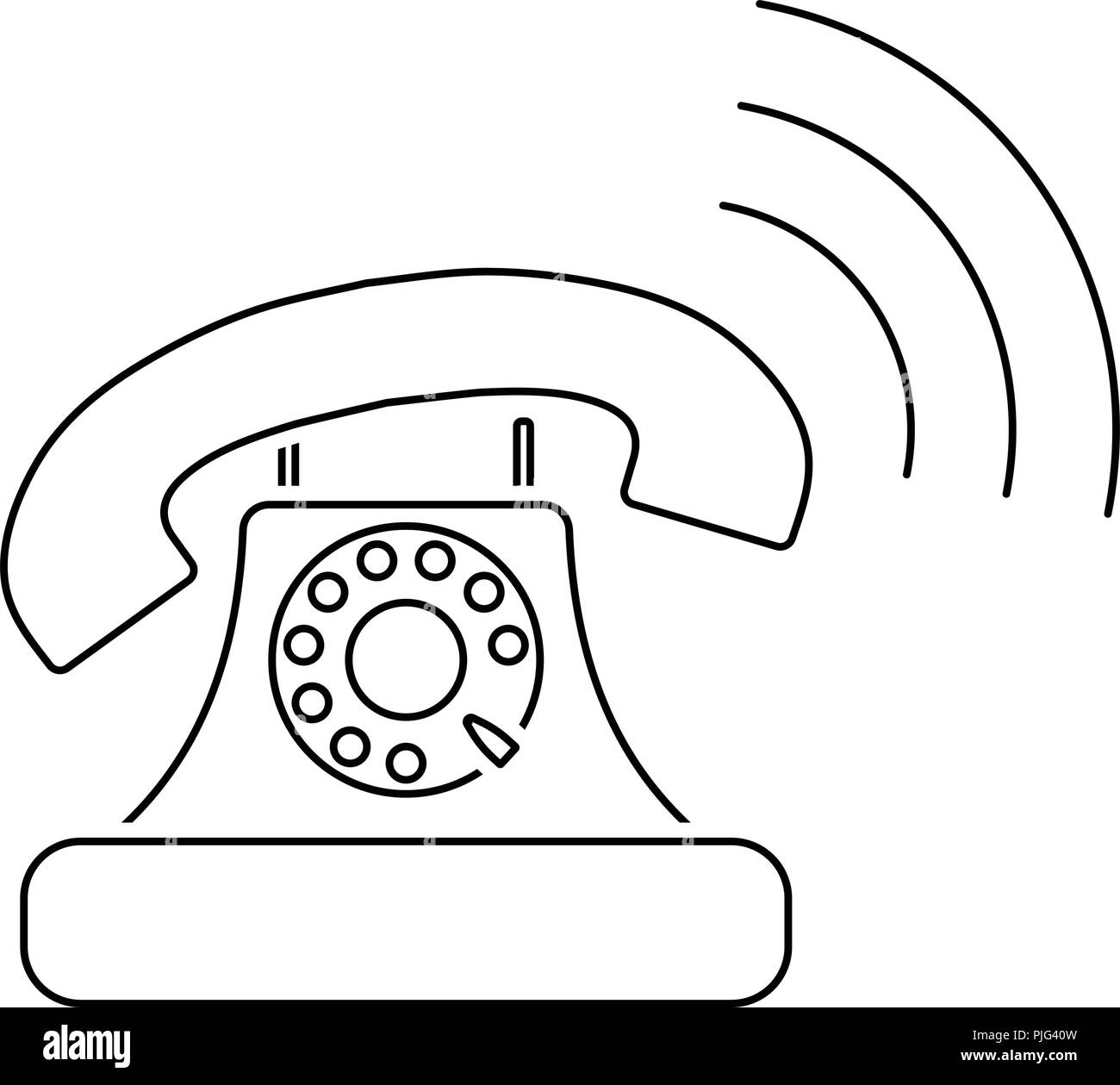 hight resolution of old telephone icon thin line design vector illustration