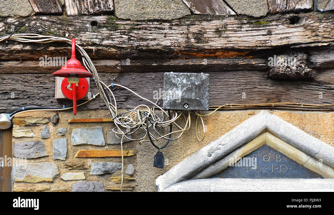 hight resolution of hazardous dangerous risky electric cabling wiring installazion outside of an an old house in rouen normandy france