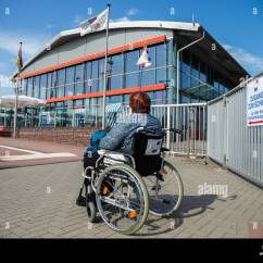 Wheelchair Fight Used Rocking Chair Emden Germany 05th Sep 2018 A Woman In Is At The Ferry Station Front Of Metal Gate On Which Sign With Inscription Access To Ship