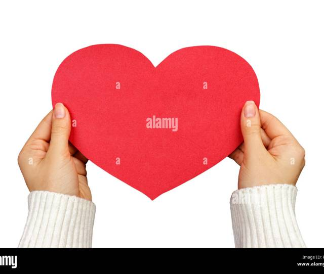A Close Up Of A Female Hand Holding A Red Paper Heart With Copy Space