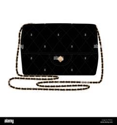 fashion illustration with quilt black handbag chanel bag vector illustration stock image [ 1300 x 1390 Pixel ]
