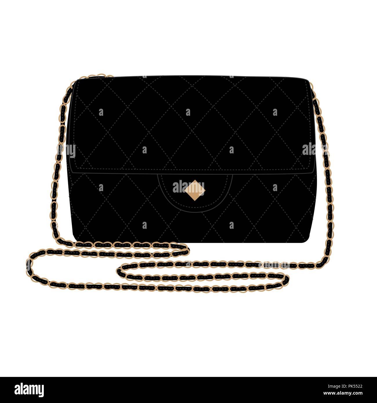 hight resolution of fashion illustration with quilt black handbag chanel bag vector illustration stock image