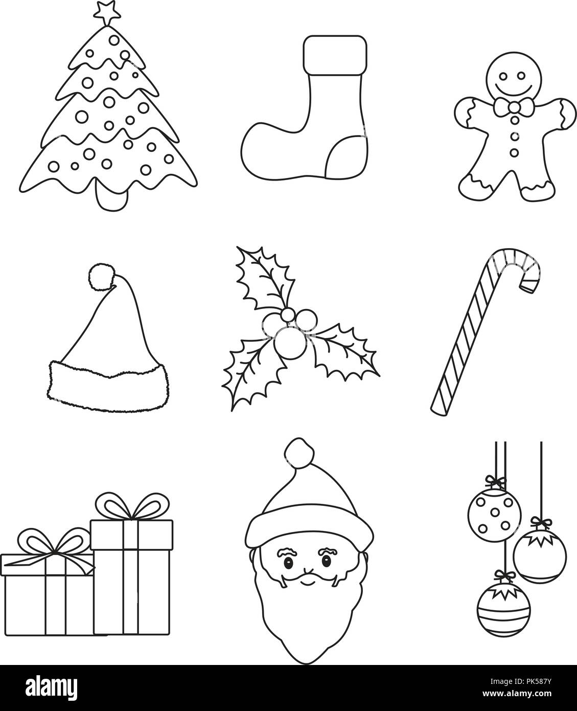 Christmas Graphic Lineart Collection For Kids Coloring