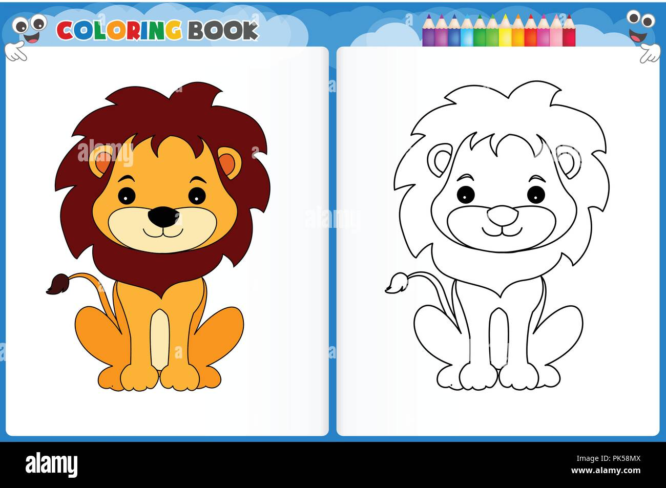 Coloring Page Cute Lion With Colorful Sample Printable